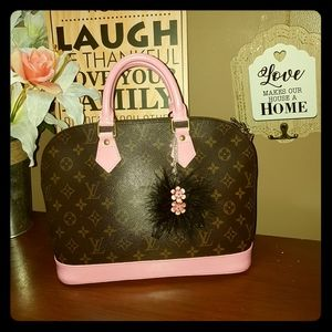 Custom painted pink LV alma Authentic